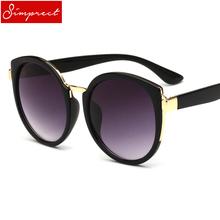 SIMPRECT Round Sunglasses Women 2019 Retro Cat Eye Mirror Big Sun Glasses High Quality Brand Design