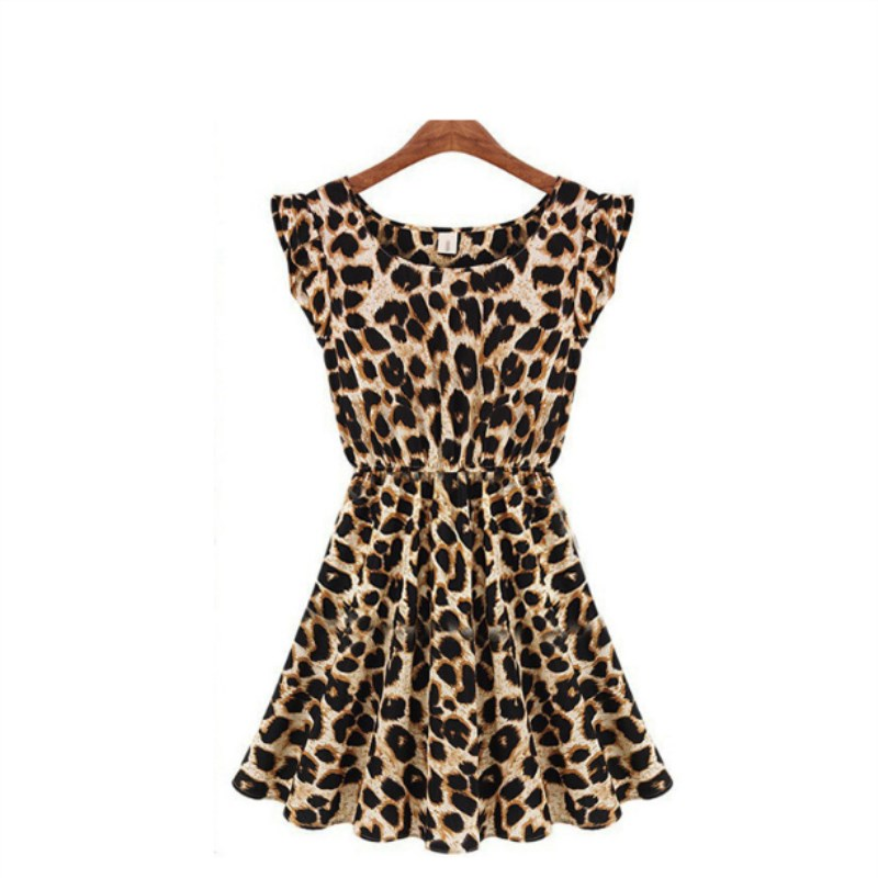 HTB1uMNmXZrrK1RjSspaq6AREXXaF Lollars leopard print O-Neck Sleeveless casual sexy Dresses Robe girl Party evening club Dress