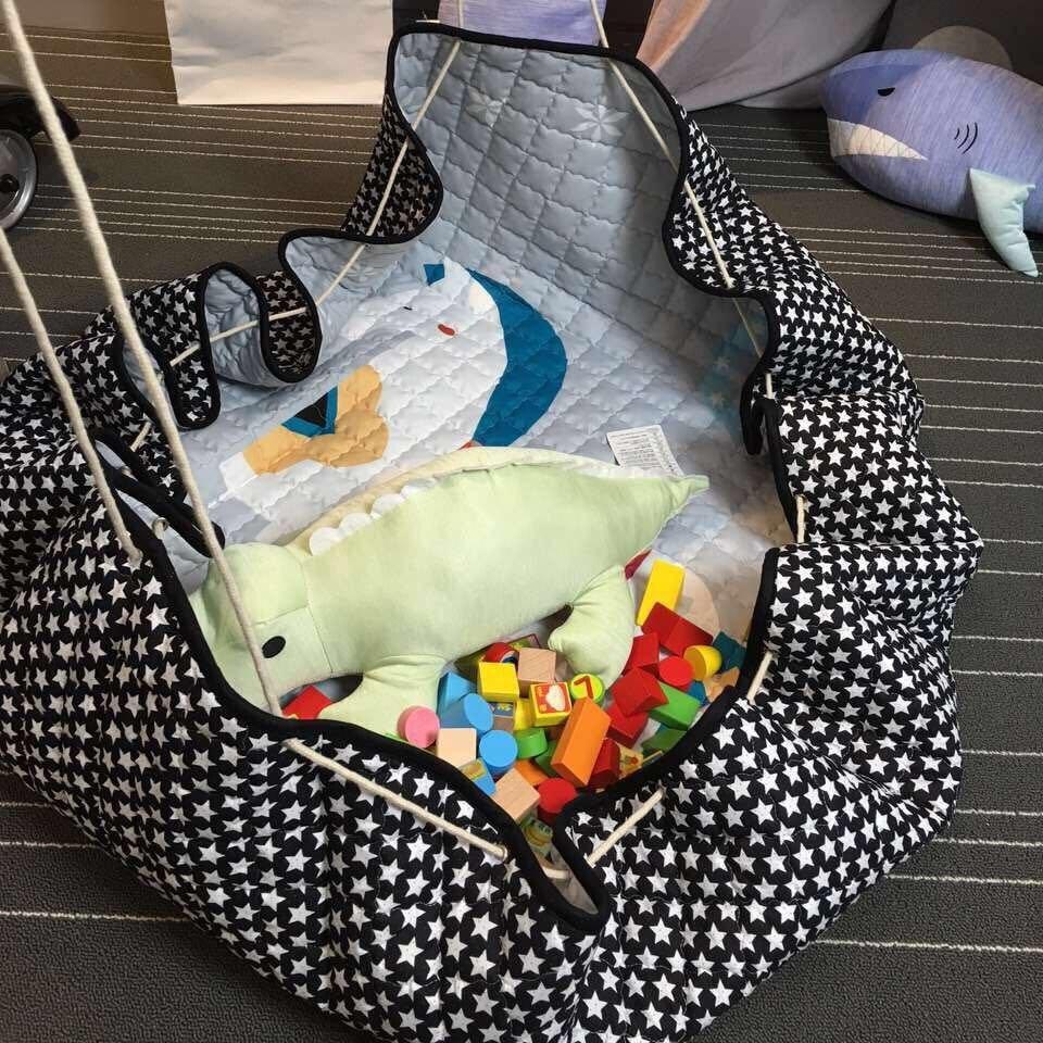 SDARISB Living Room 150cm Round Kids Toy Storage bag Portable Cartoon Storage Basket For Toy Baby Playing Floor Blanket Mat
