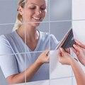 9 PCS Quadrado Telha Espelho Adesivos de Parede Sala de estar Varanda Decoração DIY Superfície do Espelho Do Banheiro Papel De Parede