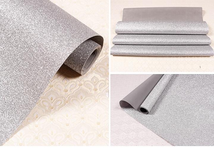 Tissu Textile revêtements muraux lumière argent paillettes papier peint rouleau, noir paillettes décoration de la maison revêtements muraux - 4