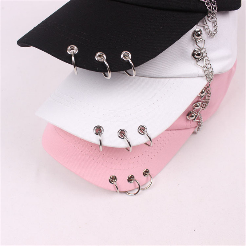Fashion 2017 new style hot selling iron ring zipper Hats adjustable   Baseball     cap   unipue style unisex