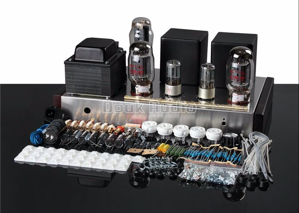 2018 New Douk Audio KT88 Vacuum Tube Amplifier HiFi Single-Ended Class A Stereo Amp DIY KIT 16W*2 цена
