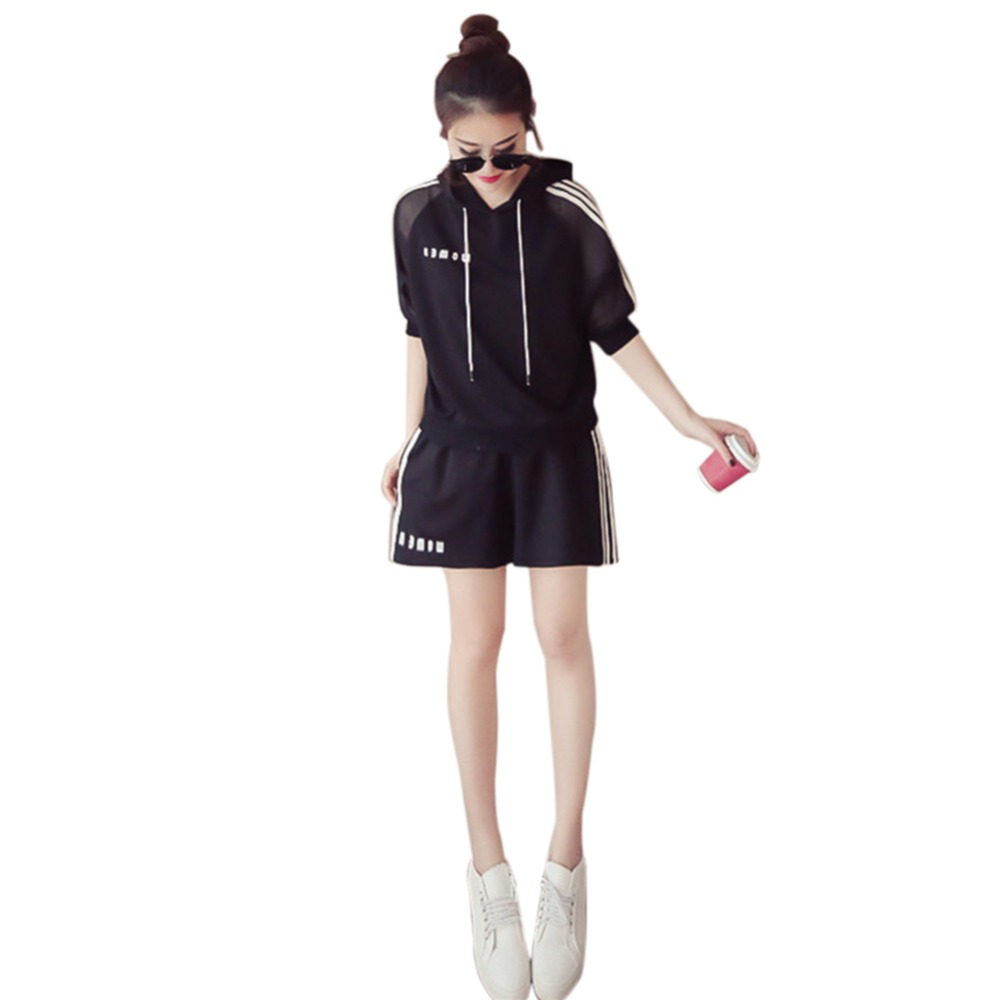 Korean Version Hooded Pullover With Shorts Casual Female Suit Women Clothing Set