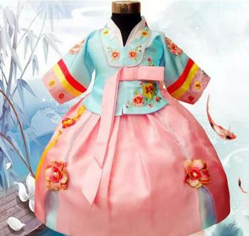 Limited Offer Children's Korean Princess Dress Minority Clothing Traditional Costumes Dancing Girls Hanbok Stage Performance.