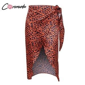 Image 5 - Conmoto ラップ弓サテン女性スプリットセクシーなヒョウ柄ハイウエストスカート高ファッション冬 Feminino スカート