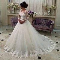 Vestidos De Noivas Ball Gown Wedding Dresses Lace Hem Tulle Appliques Greek Style Bridal Gown With