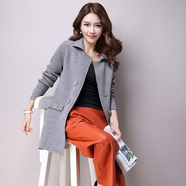 magasin en ligne 6d4fb c999f US $26.93  Aliexpress.com : Buy Autumn new women suit collar knit cardigan  European American oversized long section double breasted gilet femme manche  ...