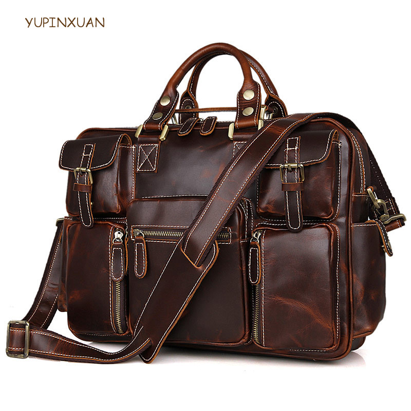 YUPINXUAN Europe Fashion Crazy Horse Leather Briefcases For Men's Gift Handbags Vintage Cow Leather Shoulder Bags Large Capacity yupinxuan dark brown crazy horse leather handbags men first layer cow leather messenger bags high capacity leather shoulder bags
