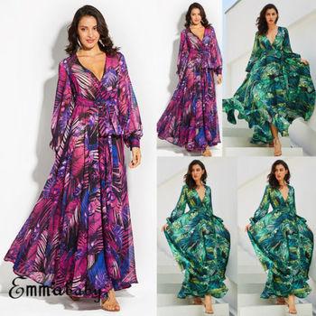 5482fa7378 Kobiety Nowy Floral Wydrukowano Z Długim Maxi Sukienka Letnia Plaża Plus  Size Wakacje Zielone Sukienki