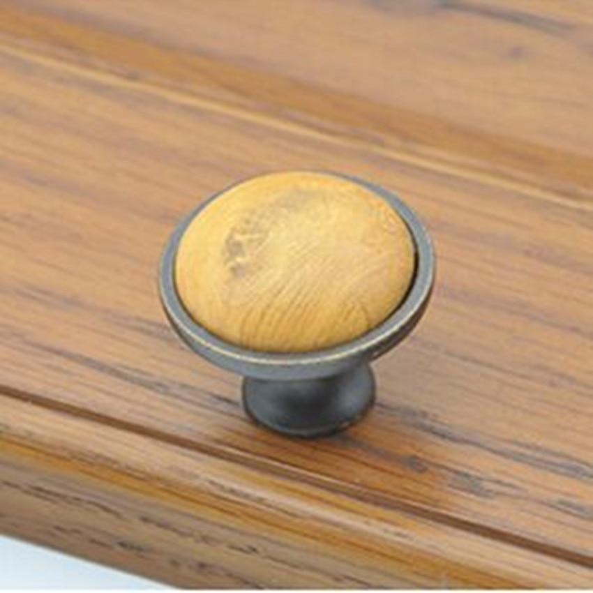 rutro rustico vintage furniture knobs wooden grain ceramic drawer cabinet knobs antique iron dresser cupboard door - Cabinet Door Pulls