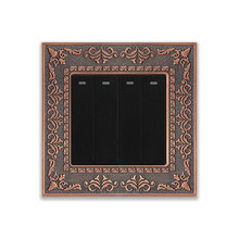 UK standard 4 Gang 1 Way/2 Way light switch Zinc alloy panel with emboss, Black/Rose gold push button wall lamp switch 16A 250V