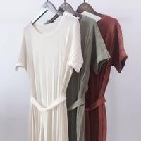 Small appropriate custom YESWOMEN temperament pressure plait knitting dress long with a belt