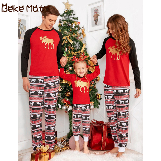 BEKE MATA Family Matching Clothes Winter 2018 Christmas Elk Print Matching  Mother And Daughter Pajamas Family Look Father Son 831067b22