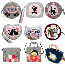 19614e0ad 10 estilos para mujer DIY Kit de bolsos de dibujos animados para niños  cumpleaños Festival regalo costura arte fieltro Material .