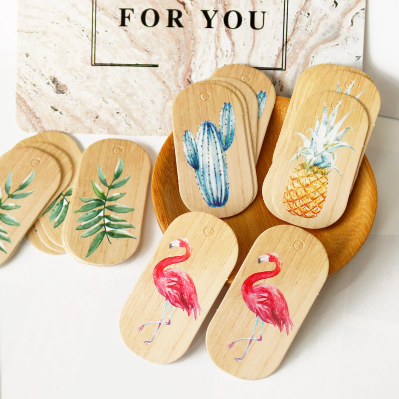 50pcs Gift Paper Tags Flamingo Pineapple Paper Hang Tags Gift Box Paper Cards DIY Label Handmade Garment Tags Party Decoration