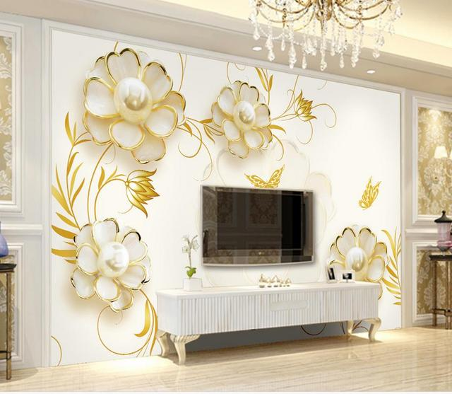 3d Wallpaper For Room Simple And Elegant Pearl Flower Golden Background  Wallpaper 3d Flower Custom 3d