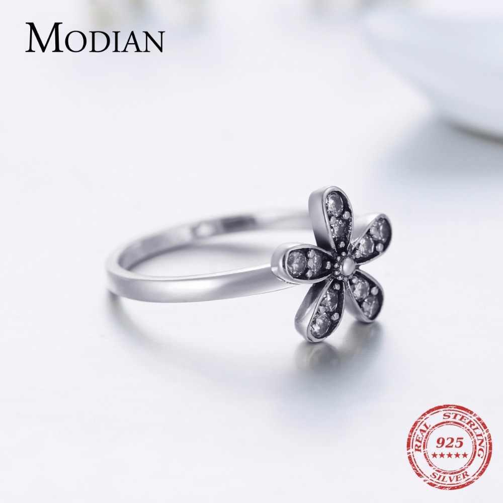 2018 Baru Fashion Asli Elegan Solid 925 Sterling Silver Bunga Cincin Jelas 5A CZ Kualitas Tinggi Pernikahan Perhiasan untuk Wanita