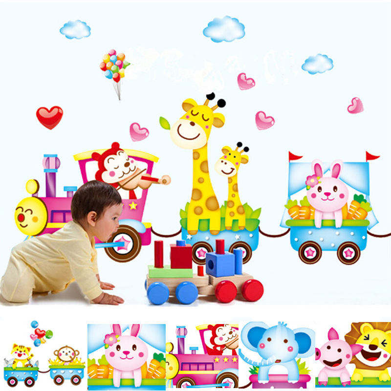 Waterproof Multicolor Cute Cartoon Animals At The Train Wall Stickers Wall Paper Roll Wallpapers For Children Room Bathroom