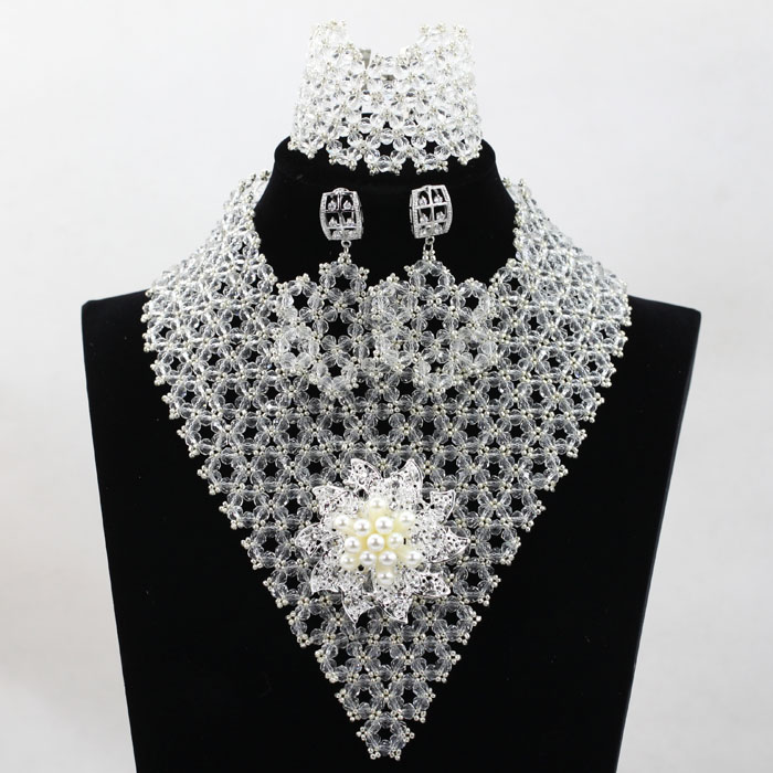 Generous Clear White Crystal Statement Necklace Set African Silver Wedding Nigerian Chunky Jewelry Sset Free Shipping HX812Generous Clear White Crystal Statement Necklace Set African Silver Wedding Nigerian Chunky Jewelry Sset Free Shipping HX812