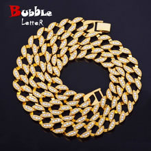 Miami Cuban Necklace Choker Jewelry Gold Silver Color Tin Alloy Iced Rhinestone Men's Hip Hop Necklace Chain Street Rock(China)