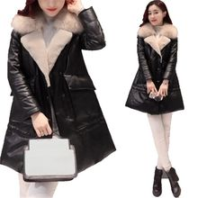 Korea Style 2017 New Winter Women Coat Warm Large Fur Collar Coat Medium Long Down Jacket Coat Thick Warm Winter Down Coat SK179