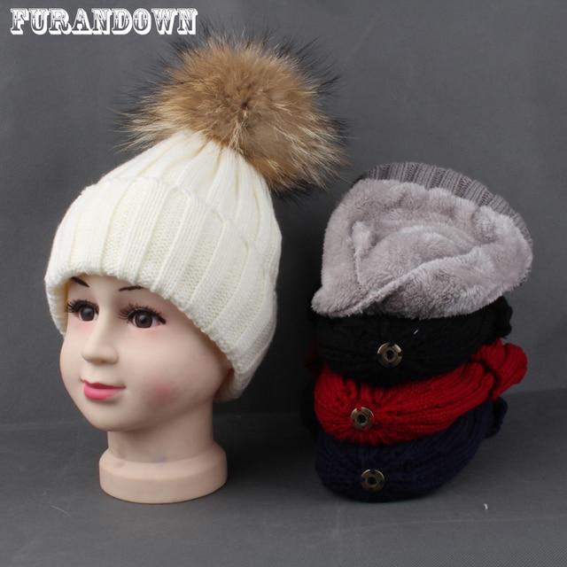 67d830dfe Edad 3-8 Childlren polar sombrero del invierno interior caliente para los  niños Real piel