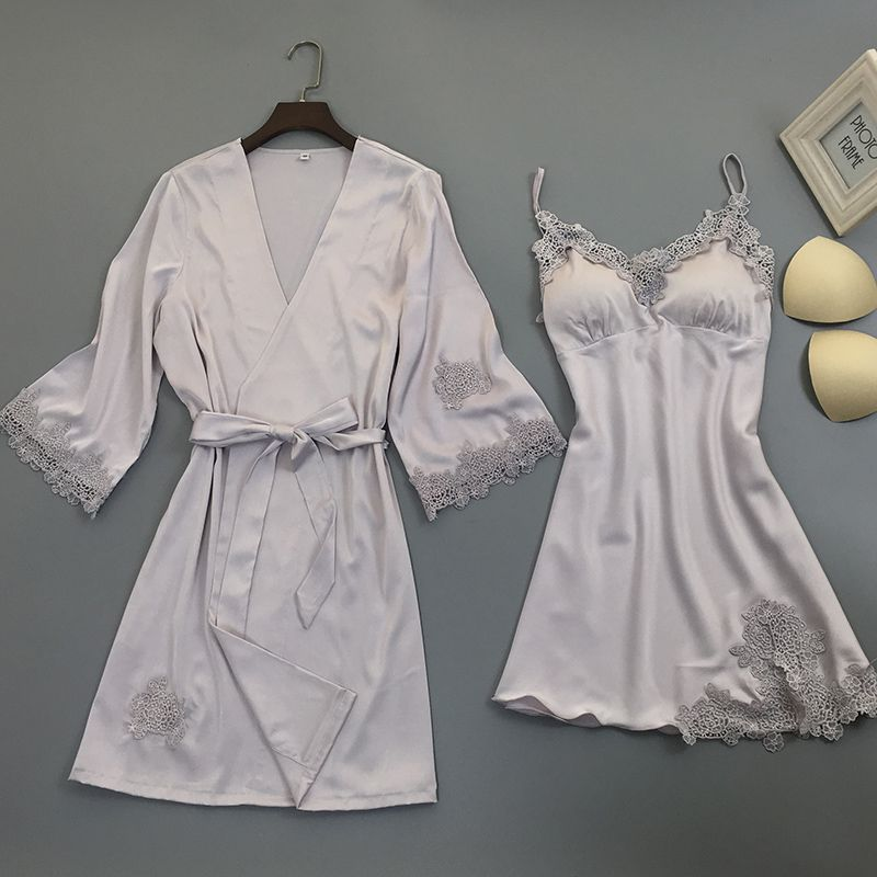 QWEEK Sleep Lounge Robe Sets With Chest Pads Sleepwear Robe Elegant Sexy Lace Women Robe Sets Elegant Sexy Ladies Nightwear