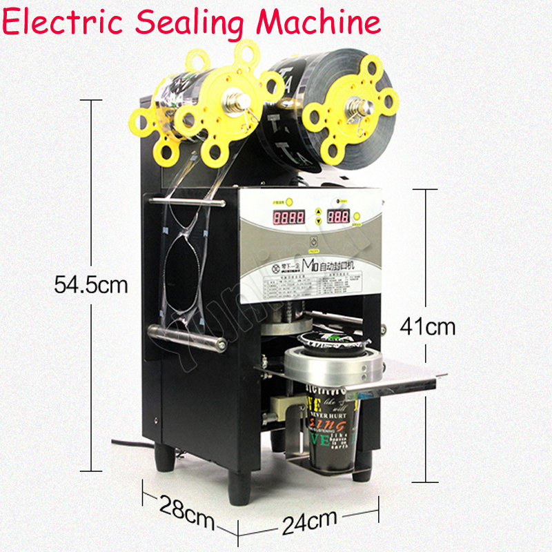 Automatic Sealing Machine Commercial Pape r& Plastic cup Semi-Automatic Seal Up Machine Milk Tea Soymilk Drinks Sealing M10 automatic cup sealing machine commercial plastic milk tea cup sealer portable electric drinks sealing machine m10