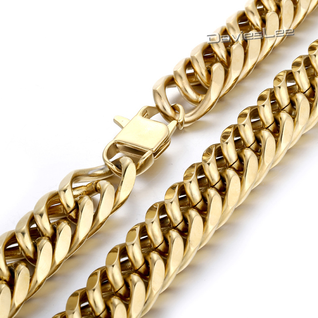19mm Heavy Gold Tone Cut Double Curb Cuban Link Rombo Mens Chain Boys 316L Stainless Steel Necklace Wholesale Gift Jewelry LHN64
