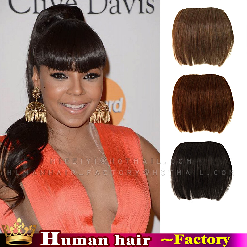 Clip In Human Real Hair Bangs Extensions Front Neat Frange Hair On