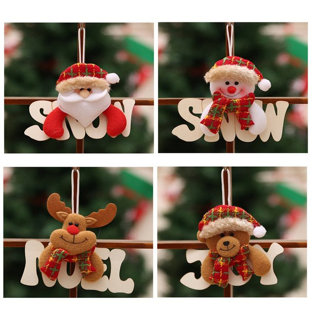 Us 123 25 Offcreative Christmas Decorations Wooden Letter Card Christmas Pendant Window Door Hanging Old Man Snowman Elk Bear In Party Diy