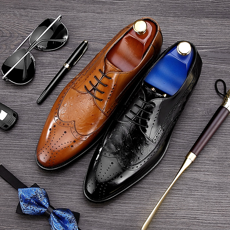 British Designer Pointed Toe Carved Man Formal Dress Shoes Genuine Leather Party Oxfords Men's Brogue Wedding Prom Footwear NE34 men s pu leather wedding flats new british men shoes fashion man pointed toe formal wedding shoes male dress shoes