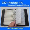 O envio gratuito de 0201 SMD YAGEO Resistor 1/16 W Livro Amostra 1% Tolerância 170valuesx50pcs = 8500 pcs Kit Resistor 0R ~ 10 M