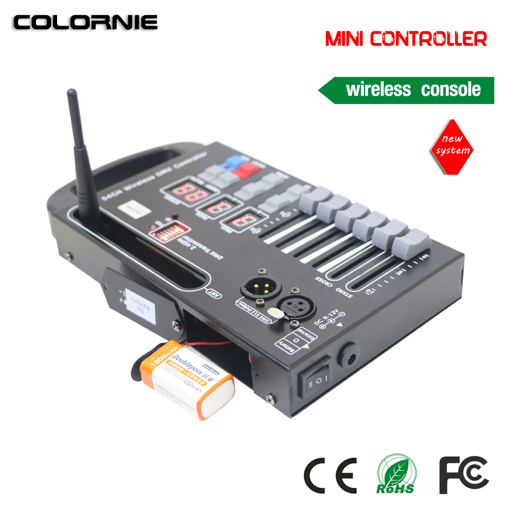 COLORNIE 2018 new system LED controller wireless dmx console use 9V battery to control led move stage light ...