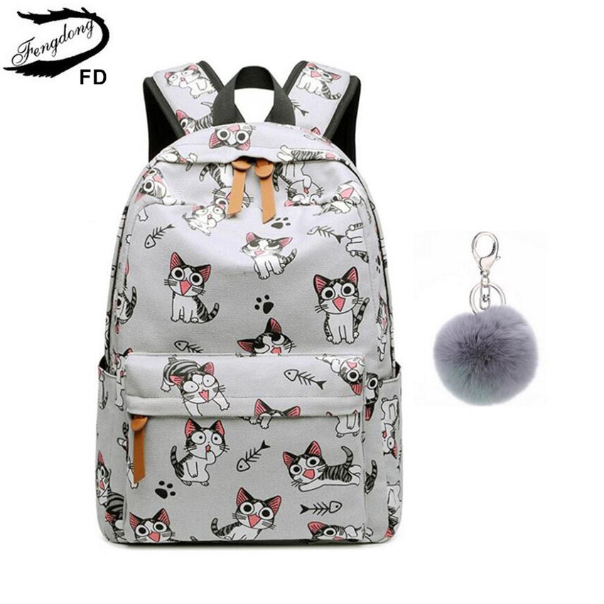 все цены на FengDong school bags for teenage girls schoolbag children backpacks cute animal print canvas school backpack kids cat bag pack онлайн