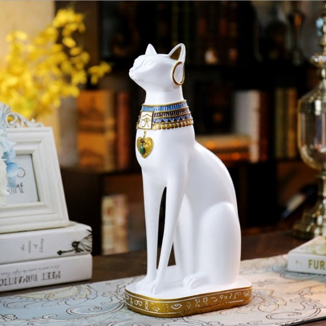 Ancient Egyptian Cat White Cat Black Home Decoration Accessories Cat Crafts Town House TV Cabinet Entrance Living Room Decor