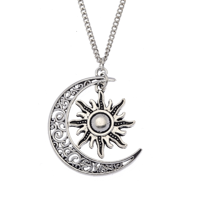 1pcs fashion vintage silver crescent moon sun charm pendant 1pcs fashion vintage silver crescent moon sun charm pendant crescent moon and sun necklace jewelry aloadofball Gallery