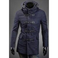 2017 Erkekler Kış Ceketler Için İngiliz Tarzı Yün Rüzgarlık Erkek İnce Kapşonlu Kumaş Ekleme Uzun Kollu Kabanlar Sıcak Palto