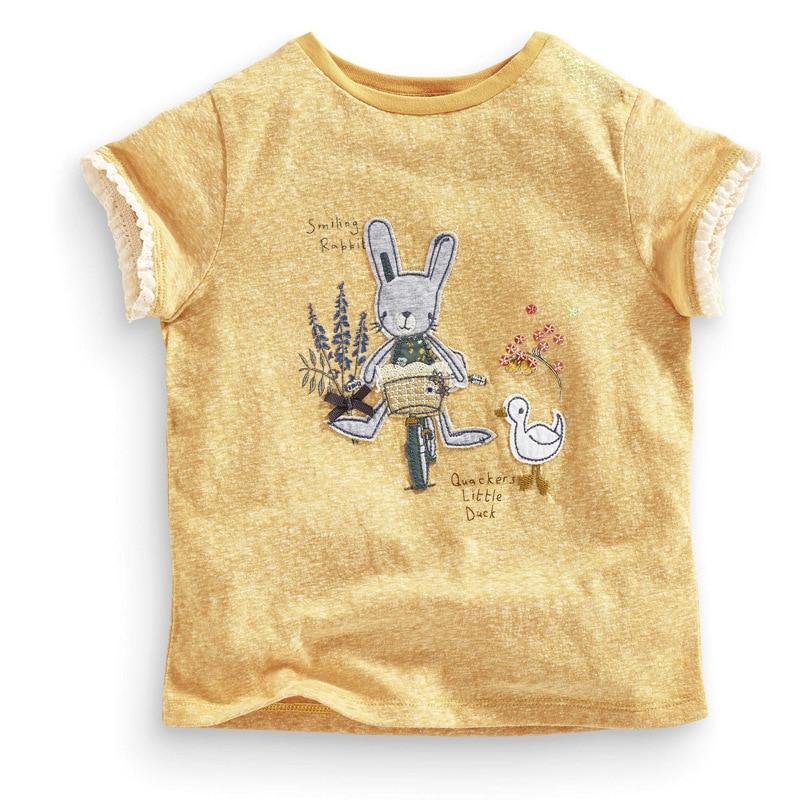2019 Marke Sommer 2-7 Jahre Baby Kinder Mädchen Cartoon Stickerei Kaninchen Blume Reine Baumwolle Top Qualität Baumwolle T-shirts Tops Shirt