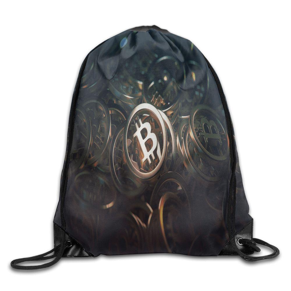 Samcustom cryptocurrency Bitcoin Плечи сумка рюкзак из ткани обувь для мужчин и женщин Порты и разъёмы Drawstring туристические ботинки пыли мешки для хранения