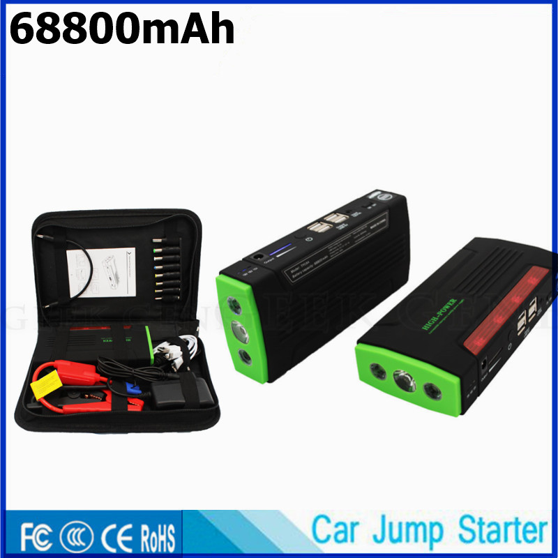 High Capacity 68800mAh Car Jump Starter 4USB Phone Power 600A Lighter Starting Device Car Charger For Car Battery Car Starter CE portable starting device 68800mah car jump starter 4usb power bank 600a pack car battery charger for petrol diesel car starter