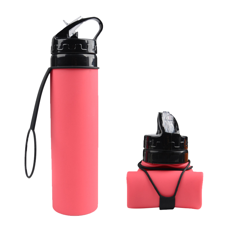600ML Foldable Water Bottle Silicone Portable Traveling Sport Drinkware Running Outdoors Cycling Hiking Camping Kettle Items