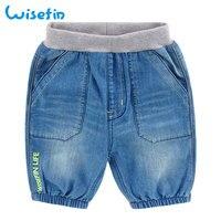 Wisefin Meninos Calções Crianças Moda Casual Cônicos Jeans Crianças Carta Algodão Estampado Praia Bolso Azul Denim Calças Estilo