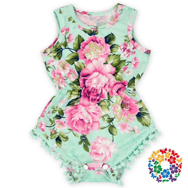 EMS DHL free kids baby girls Lace Floral Print One Piece Romper infants Wear Mint Aqua Flower Pom Pom Romper NewBorn Baby Girls lem htr200 sb sp1 used in good condition with free dhl ems