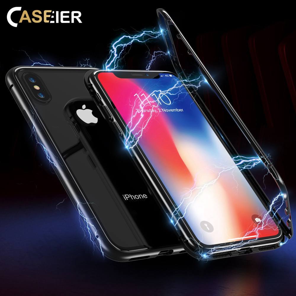 CASEIER Ultra Magnetic Phone Case For iPhone X 7 8 9H Tempered Glass Cover For iPhone X 8 7 Plus Case Shell Capinha Accessories