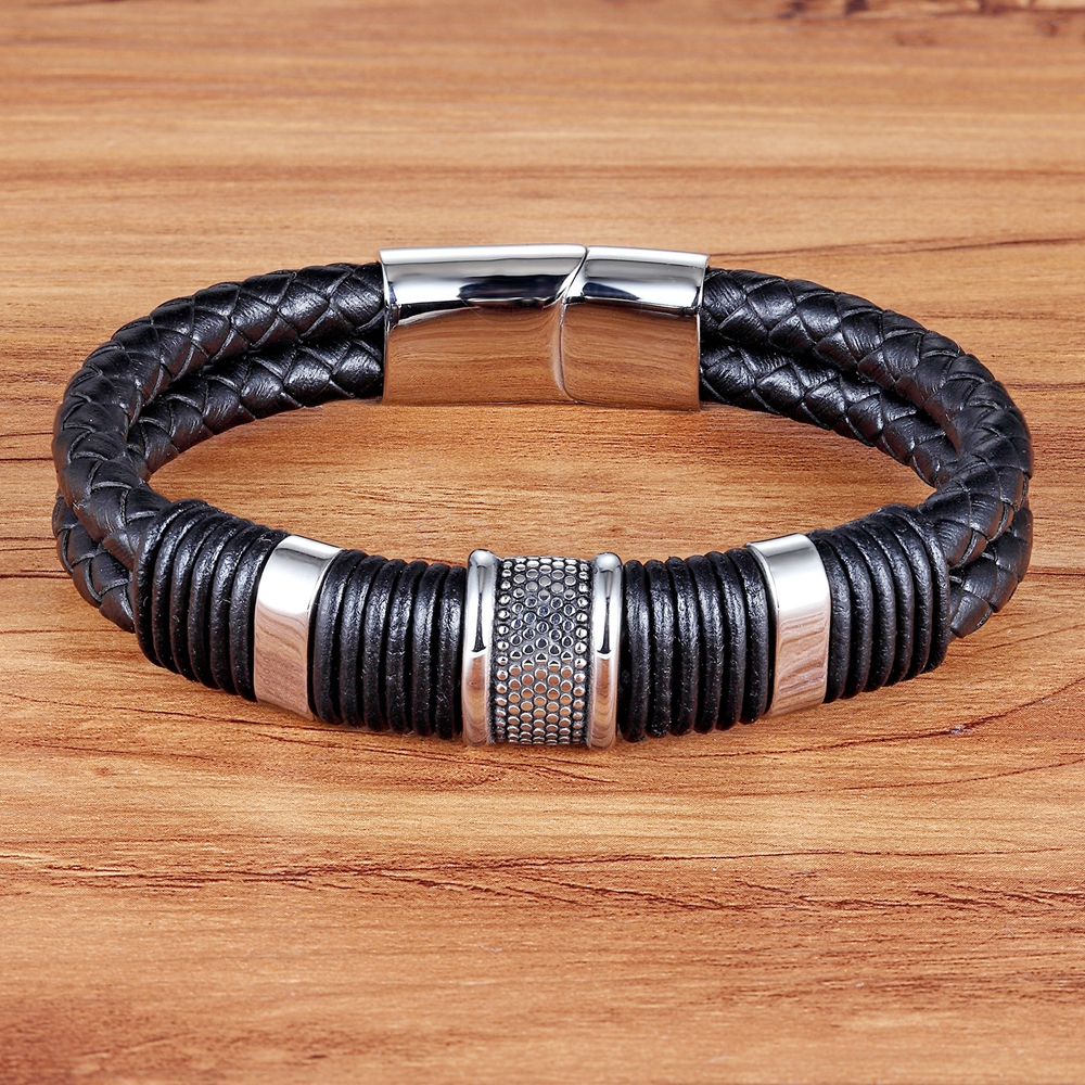 XQNI Geometric Style Charm Bracelet For Boys Stainless Steel Genuine Leather Bracelet & Bangle For Birthday Jewelry Party Gift