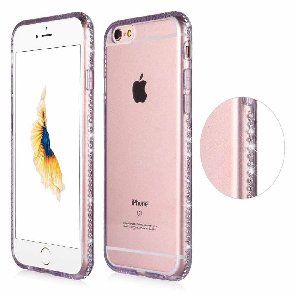 0e8e5e92eb798a ... Portefeuille For Coque Iphone 6 S Case Clear Protective Back Cover  Bling Diamond Glitter Frame for ...