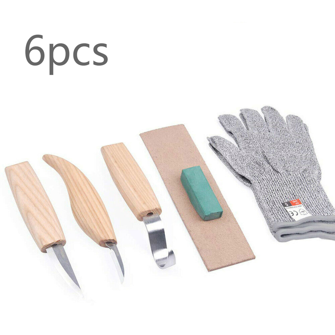 5pc Woodworking Carving Knife Bending Straight + Anti-cutting Gloves Wood Tool Chisel Hand Tools