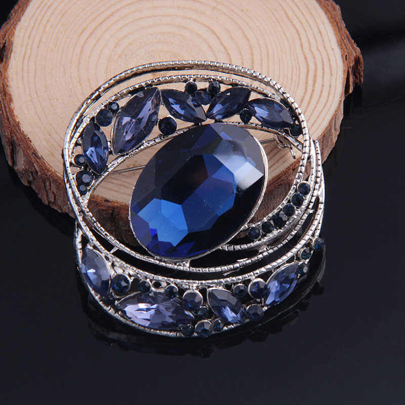 Big Round Blue Rhinestone Crystal Brooch Party Wedding Birthday Gifts for Women Brooches Pins Jewelry Women Accessories 5.3cm